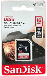 Sandisk SD Card 16Gb 48mb/s
