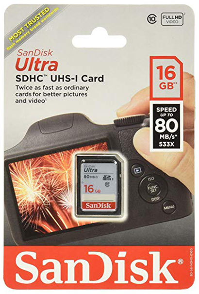 Sandisk SD Card 16Gb 80mb/s